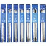 CHMYY 35PCS Aiguilles à Tricoter,20cm de long Métal Ensemble d'aiguilles droites,7 Tailles 2,0mm à 5,0mm inoxydable Aiguilles