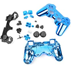 Generic Metal Plated Full Housing Shell Case Button Kit for Sony PlayStation3 PS3 Wireless Controller - Blue