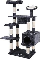 SONGMICS XXL Kletterbaum Stabiler Kratzbaum mit Spielsisal Verdickte Säule Druchmesser ca. 8,6 cm, 156 cm hoch PCT65G