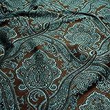 Stoff Viskose Polyester Jacquard Ornament braun türkis Deko Kissen Vorhang