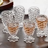 VACHHRAJ Glassware Crystal Clear Pineapple Shaped Juice Glass Set of 6 Pieces, 150 ml Each
