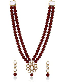 Color Lane Fashion Traditional Gold Tone Earrings with Kundan Meenakari Beads For Women//Girls