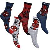 Juego de 5 pares de calcetines de algodón de Spiderman Marvel Original para niño, tamaño estándar, paquete de 5, 70 % algodón