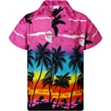King Kameha Chemise Hawaïenne pour Homme Funky Casual Button Down Very Loud Courtes Unisex Beach