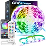 20M Ruban LED Multicolore, CGN LED Bande Bluetooth RGB 5050 Guirlande Lumineuse Dimmable Auto-adhésif Contrôler par Applicati