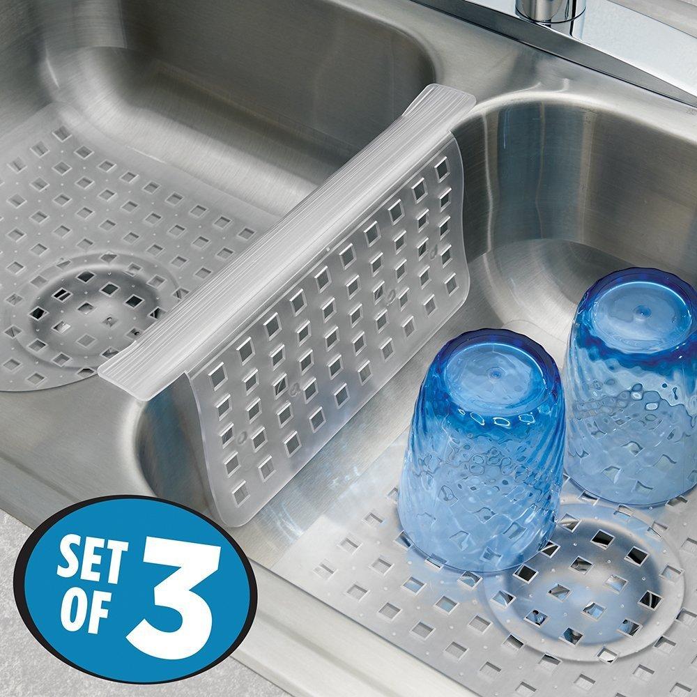mDesign Set da 3 Tappetini per lavello cucina – Perfetti accessori ...