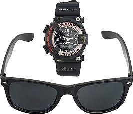 BLUE DIAMOND Men's Analogue Sports Watch and Wayfarer Sunglasses Combo(662662|Black)