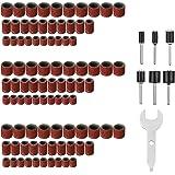 307Pcs Levigatura Cilindri Abrasiv,GOCHANGE 300Nastro abrasivo Sleeves+6Drum Mandrels+1Double Use Wrench per Dremel Rotary To