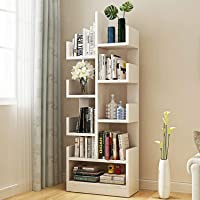 Kurtzy MDF Wood DIY Book Storage Display Rack, Matte Finish, Walnut White (47 X 21 X 131 cm) , Set of 1
