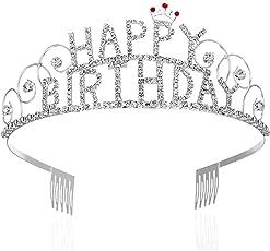 Frcolor Gorgeous Rhinestone Happy Birthday Tiara Exquisite Headband Girl Crown with Combs Wedding Bridal Birthday Tiaras