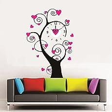 Syga Royal Tree PVC Vinyl Wall Clock (35 cm x 17 cm x 5 cm, Pink)