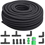 FIXKIT 50m Soaker Hose Set, Water-saving Porous Pipe, 1/2 Inch Leaky Pipe, 15-20L/min Micro Drip Hose for Root&Soil…