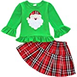 Toddler Baby Girl Christmas Clothes Ruffle Long Sleeve Tops Plaid Skirt Outfits Set