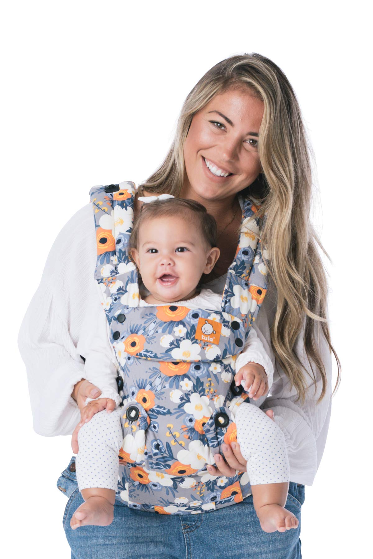 Baby Tula Explore Baby Carrier 3.2 - 20.4 kg, Adjustable Newborn to Toddler Carrier, Multiple Ergonomic Positions, Front and Back Carry, Easy-to-Use, Lightweight - French Marigold, Blue-Gray Floral Tula EVERY CARRY POSITION YOUR BABY WILL NEED, INCLUDING OUTWARD FACING: Multiple positions to carry baby including front facing out*, facing in, and back carry. Each position provides a natural, ergonomic position best for comfortable carrying that promotes healthy hip and spine development for baby. INNOVATIVE BODY PANEL WITH AN EASY-TO-ADJUST DESIGN: Adjusts in three width settings to find a perfect fit as baby grows from newborn to early toddlerhood. PADDED, ADJUSTABLE NECK SUPPORT PILLOW: Can be used in multiple positions to provide head and neck support for newborns and sleeping babies. 1