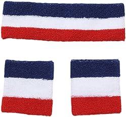 Outgeek 3Pcs Wristband Set Sport Sweatband Elastic Sweat Absorbent Cotton Striped Athletic Headband Wristband for Tennis Basketball