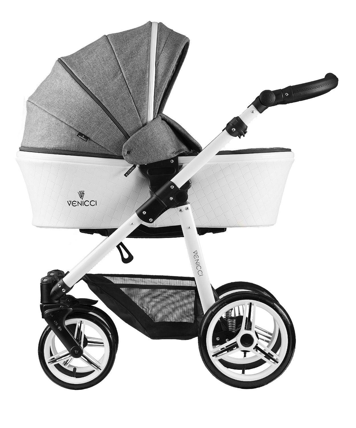 Venicci Pure 3-in-1 Travel System - Denim Grey - with Carrycot + Car Seat + Changing Bag + Apron + Raincover + Mosquito Net + 5-Point Harness and UV 50+ Fabric + Car Seat Adapters + Cup Holder Venicci 3 in 1 Travel System with included Group 0+ Car Seat Suitable for your baby from birth until 36 months 5-point harness to enhance the safety of your child 2