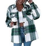 L&ieserram Giacca da donna a quadri oversize con bottoni oversize con motivo a quadri e tasche a maniche lunghe, leggera, sti