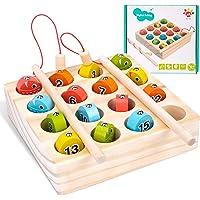 Tateangnik Jouet en Bois Montessori pour Enfant de 1 à 5 Ans, Jeu de Pêche Magnétique pour Garçons et Filles de 1 2 3 4…