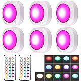 Justech 6pcs Lampe de Placard 13Couleurs RGB Lampe LED Veilleuse sans Fil Lampe à LED Luminosité Réglable avec 2 Télécommande