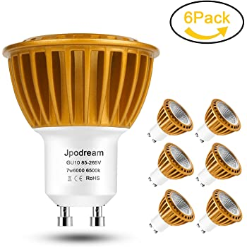 Jpodream GU10 LED Bombillas Blanco Frío 6000K, 7W COB Lámpara LED, Equivalente a 60Watt