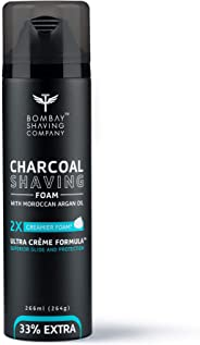 Bombay Shaving Company Activated Charcoal Shaving Foam with Moroccan Argan Oil and 2X Creamier Formulae for Superior Glide and Protection 266 ml (33% Extra)