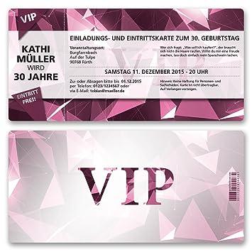 Einladungskarten Geburtstag (10 Stück) VIP Party Edel Pink Lila Ticket  Geburtstagskarten Geburtstagseinladungen Karte Einladungen Gestalten |  Inkl. Druck ...