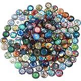 SUPVOX Cabujones óvalo de Cristal Mosaico Impreso Cabochons Mosaico Azulejos de Mosaico para Joyería Pulseras 10 mm 100 Pieza