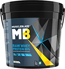 MuscleBlaze Raw Whey Protein - 8.8 lb/ 4 kg, 131 Servings (Unflavoured)