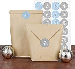 zirkelacht DIY Adventskalender Set zum Basteln und Befüllen - Adventskalenderzahlen - 24 Papiertüten mit Aufklebern