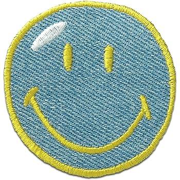 Smiley zwinkernd Aufnäher Bügelbild Patches Aufbügeln Ø5,5cm gelb