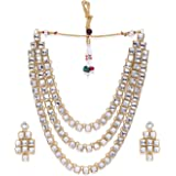 Zaveri Pearls Gold Tone Multi Layer Traditional Necklace Set For Women-ZPFK9007
