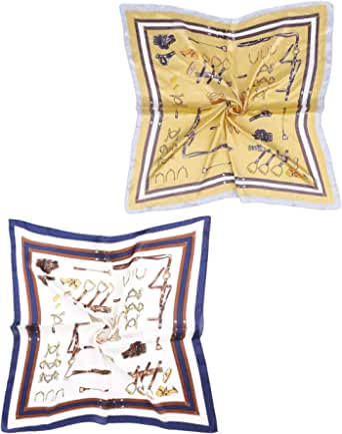 Genovega Foulard Seta Capelli Donna, 2 pcs Bandana Sciarpa Leggera Quadrato Colorate, Fazzoletto da Collo