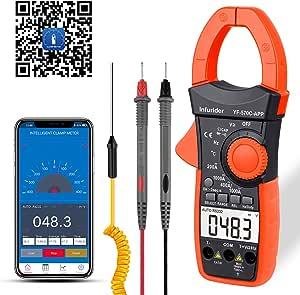 Infurider Digital Clamp Meter Stromzange Multimeter Auto Ranging Strommessgerät Mit 4000 Counts Genaue Messung Von Spannung Strom Widerstand Kapazität Temperatur Durchgang Mit App über Bluetooth Auto