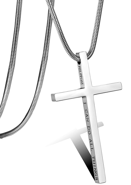 Besteel Acero Inoxidable Collar Cruz para Hombre Mujer Cadena Serpiente con Colgante Cruz Collar Religioso, 61CM
