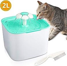 Gifort Haustier Trinkbrunnen 2 L Haustier Wasserspender für Tiere Katzen und Hunde Wasser Trinken Haustier Trinkbrunnen/Sauberer und Sicherer Filter