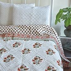 KADAIR BUX RAZAI EMPORIUM SAROJI MUGAL Print Jaipuri RAZAI Cotton Quilt AC Blanket Hand Block Printed Cotton Razai - 60 by 90 Single Bed Razai