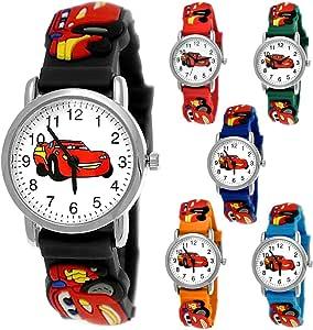 Pure Time Autos Cars Kinderuhr Jungen Mädchen Auto Kinder Silikon Armband Schwarz Rot Sportuhr Lernuhr Uhr 3D