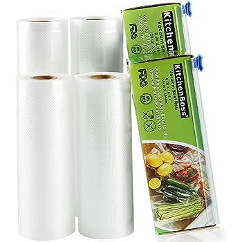 KitchenBoss Sacs sous Vide 4 Rouleaux 15x500cm et 20x500cm avec 2 Boîte de Coupe(Pas Plus de Ciseaux) sans BPA, Approuvé par la FDA pour Appareil sous Vide, Qualité Commerciale