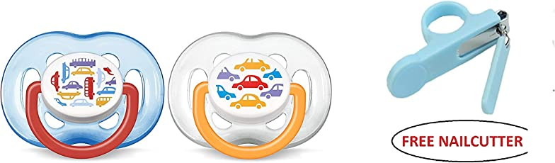 Philips Avent Soother Fast Flow - 6 to 18 Months Pack of 2 (Colour May Vary) with Free Nail Cutter