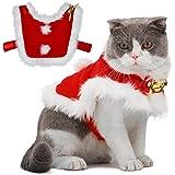 Legendog Costume Natale Gatto, Gatto Babbo Natale Regolabile Santa Pet Cape Gatto Santa Vestiti con Campane Xmas Outfit per C