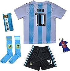 Sheki New Argentinien #10 Messi Heim Kinder Fußball Trikot Hose und Socken Kindergrößen