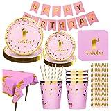 Amycute 1°Compleanno Bambina Festa 16 Ospiti, 1 Compleanno Piatti, Bicchieri, Tovaglia, Tovaglioli, Striscioni, Cannucce, per