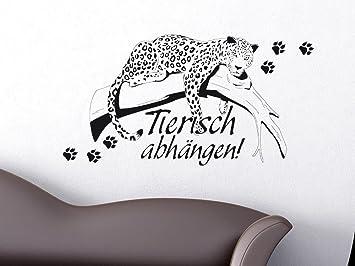 Wandtattoo Tiere Sprche Fr Wohnzimmer Flur Afrika Deko Tierisch Leopard 76x40cm 070 Schwarz