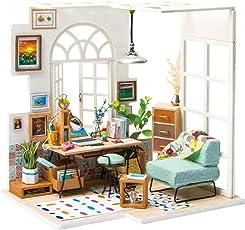 ROBOTIME Miniature House - Holz Puppenhaus für 14 Jahre alte Mädchen - Wohnzimmer Zubehör und Möbel-Kits