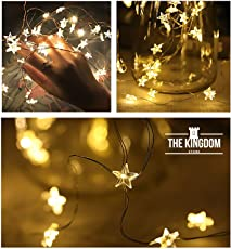 The Kingdom Store™ String Lights 30 Warm White LED Stars Fairy Lights 10Feet for Christmas Halloween Party Home Bedroom Decoration Diwali DIY