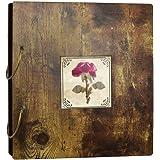 Amazon Brand – Umi Album Photo 10 x 15cm en Bois, Album de Bricolage avec la Couverture de Fleur Séché, 200 Photos