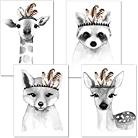 artpin® Set of 4 posters for children's room, living room, black and white, A4 pictures, baby room, decorative boy girl P15