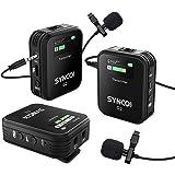SYNCO G2 A2 2.4Ghz Sistema di Microfono Lavalier Wireless, Microfoni Clip Senza Fili Compatibile per Fotocamera Reflex, Video