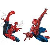 Kibi 2PCS Stickers Muraux Spiderman 3D Effect Autocollants Chambre Decor Décoration Sticker Adhesif Mural Géant Répositionnab