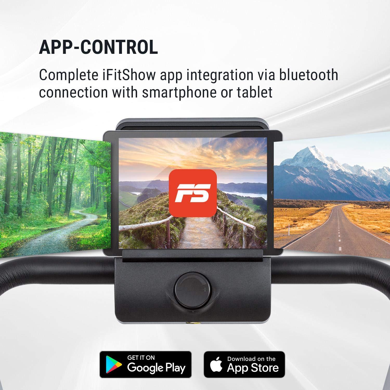 Klarfit Treado Advanced 2.0 /• Tapis Roulant /• Nastro Corsa /• Computer Allenamento /• Supporto per Tablet /• 1 PS /• Sensore a Impulsi /• Inclinazione Regolabile /• Bluetooth /• Integrazione App /• Nero